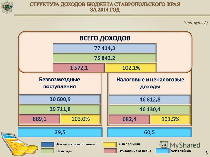 Фактическое исполнение План года Отклонение от плана % исполнения Удельный вес 3