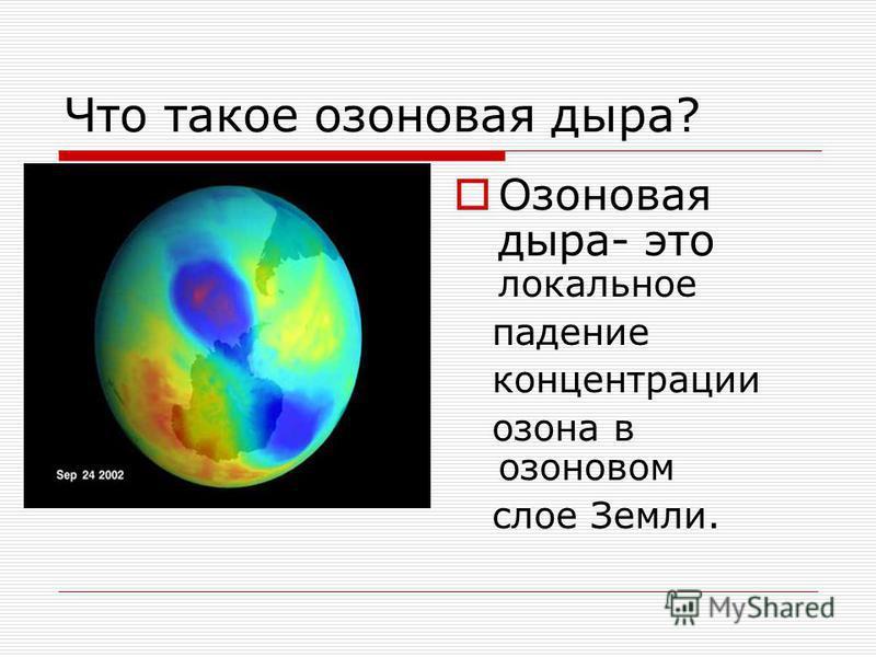 Что такое озоновая дыра? Озоновая дыра- это локальное падение концентрации озона в озоновом слое Земли.