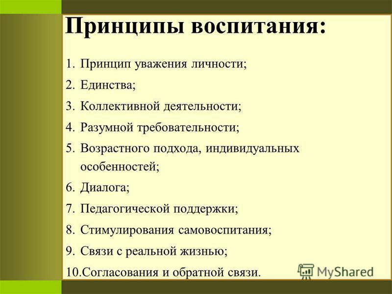 1. Принцип уважения личности; 2.Единства; 3. Коллективной деятельности; 4. Разумной требовательности; 5. Возрастного подхода, индивидуальных особенностей; 6.Диалога; 7. Педагогической поддержки; 8. Стимулирования самовоспитания; 9. Связи с реальной ж