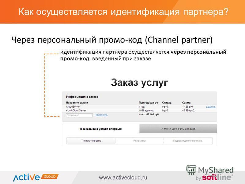 Как осуществляется идентификация партнера? Через персональный промо-код (Channel partner) идентификация партнера осуществляется через персональный промо-код, введенный при заказе