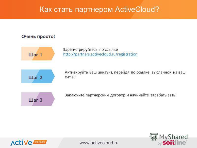 Как стать партнером ActiveCloud? Зарегистрируйтесь по ссылке http://partners.activecloud.ru/registration http://partners.activecloud.ru/registration Активируйте Ваш аккаунт, перейдя по ссылке, высланной на ваш e-mail Заключите партнерский договор и н
