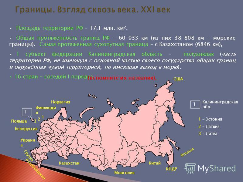 Площадь территории РФ - 17,1 млн. км 2. Общая протяжённость границ РФ - 60 933 км (из них 38 808 км - морские границы). Самая протяженная сухопутная граница – с Казахстаном (6846 км), 1 субъект федерации Калининградская область - полуанклав (часть те