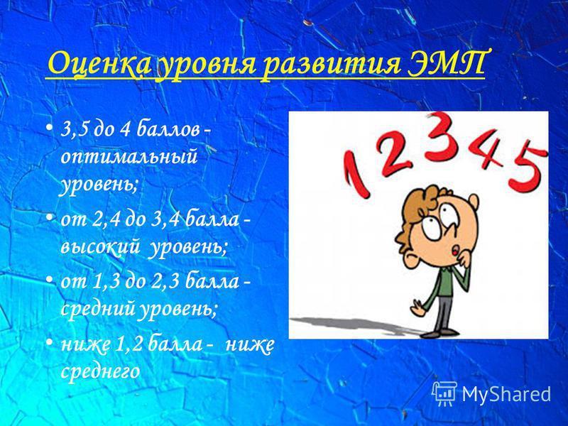 Оценка уровня развития ЭМП 3,5 до 4 баллов - оптимальный уровень; от 2,4 до 3,4 балла - высокий уровень; от 1,3 до 2,3 балла - средний уровень; ниже 1,2 балла - ниже среднего