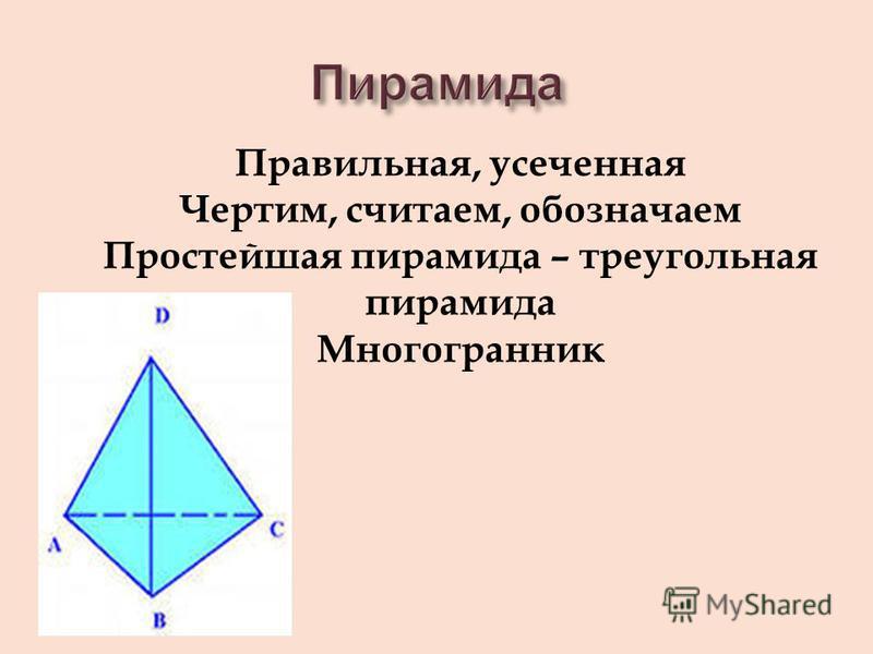 Правильная, усеченная Чертим, считаем, обозначаем Простейшая пирамида – треугольная пирамида Многогранник