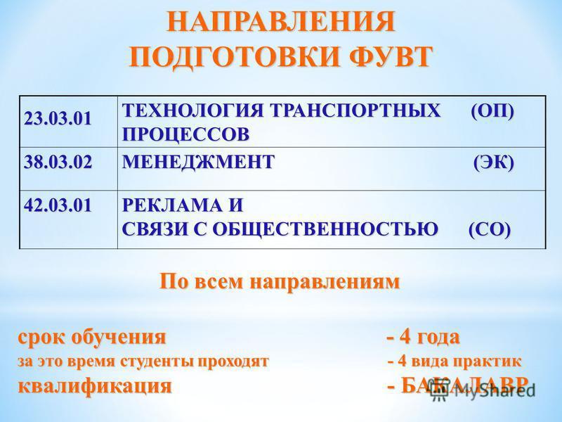 НАПРАВЛЕНИЯ ПОДГОТОВКИ ФУВТ 23.03.01 ТЕХНОЛОГИЯ ТРАНСПОРТНЫХ (ОП) ПРОЦЕССОВ 38.03.02 МЕНЕДЖМЕНТ (ЭК) 42.03.01 РЕКЛАМА И СВЯЗИ С ОБЩЕСТВЕННОСТЬЮ (СО) По всем направлениям срок обучения - 4 года за это время студенты проходят - 4 вида практик квалифика