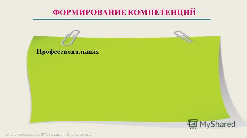 ФОРМИРОВАНИЕ КОМПЕТЕНЦИЙ В соответствии с ФГОС и рабочей программой Профессиональных