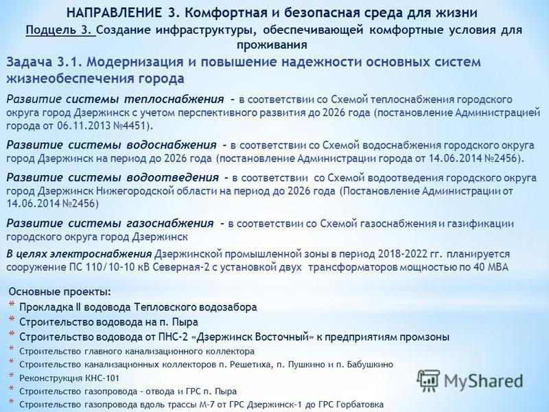Задача 3.1. Модернизация и повышение надежности основных систем жизнеобеспечения города Развитие системы теплоснабжения - в соответствии со Схемой теплоснабжения городского округа город Дзержинск с учетом перспективного развития до 2026 года (постано