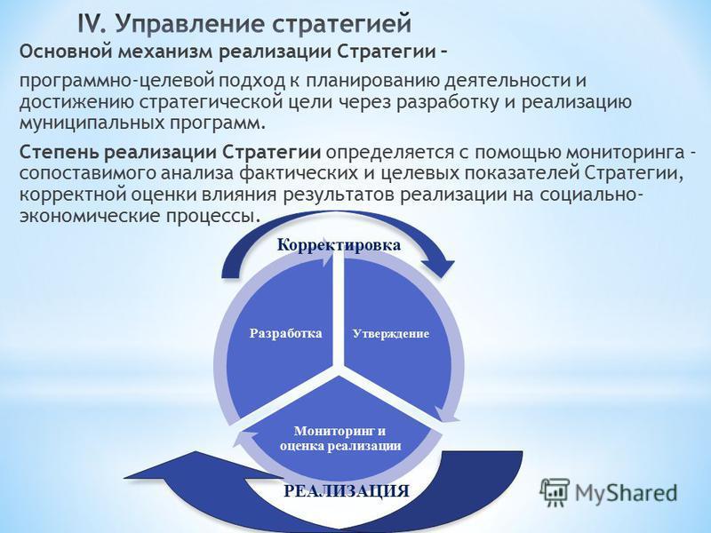Основной механизм реализации Стратегии – программно-целевой подход к планированию деятельности и достижению стратегической цели через разработку и реализацию муниципальных программ. Степень реализации Стратегии определяется с помощью мониторинга - со