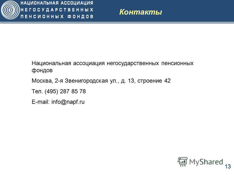 13 Контакты Национальная ассоциация негосударственных пенсионных фондов Москва, 2-я Звенигородская ул., д. 13, строение 42 Тел. (495) 287 85 78 E-mail: info@napf.ru