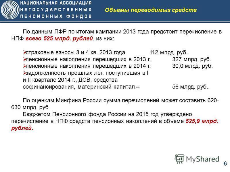 6 По данным ПФР по итогам кампании 2013 года предстоит перечисление в НПФ всего 525 млрд. рублей, из них: страховые взносы 3 и 4 кв. 2013 года 112 млрд. руб. пенсионные накопления перешедших в 2013 г.327 млрд. руб. пенсионные накопления перешедших в