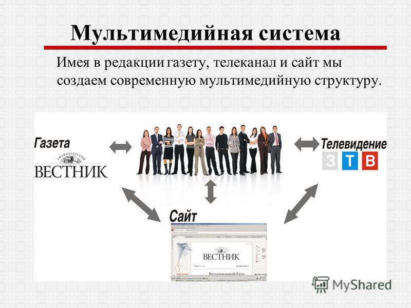 Мультимедийная система Имея в редакции газету, телеканал и сайт мы создаем современную мультимедийную структуру.