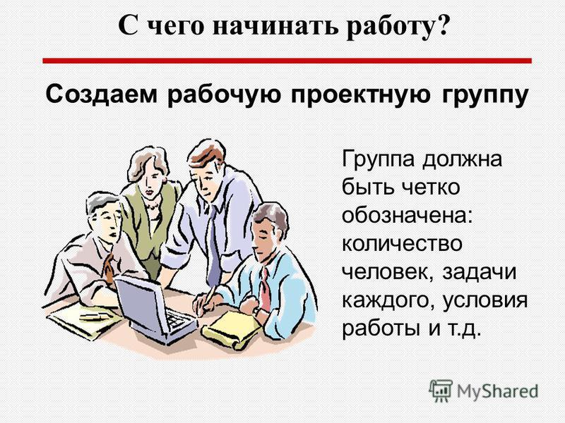 С чего начинать работу? Группа должна быть четко обозначена: количество человек, задачи каждого, условия работы и т.д. Создаем рабочую проектную группу