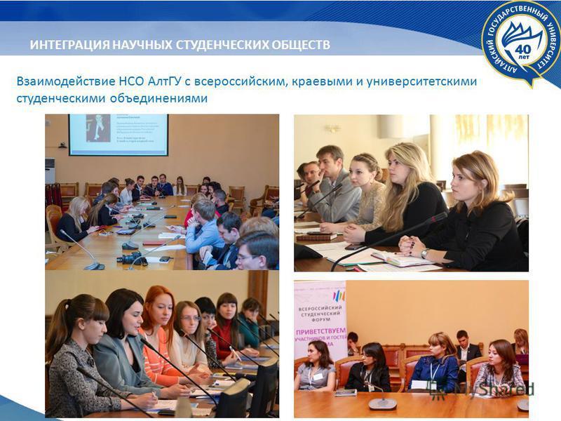 Взаимодействие НСО АлтГУ с всероссийским, краевыми и университетскими студенческими объединениями