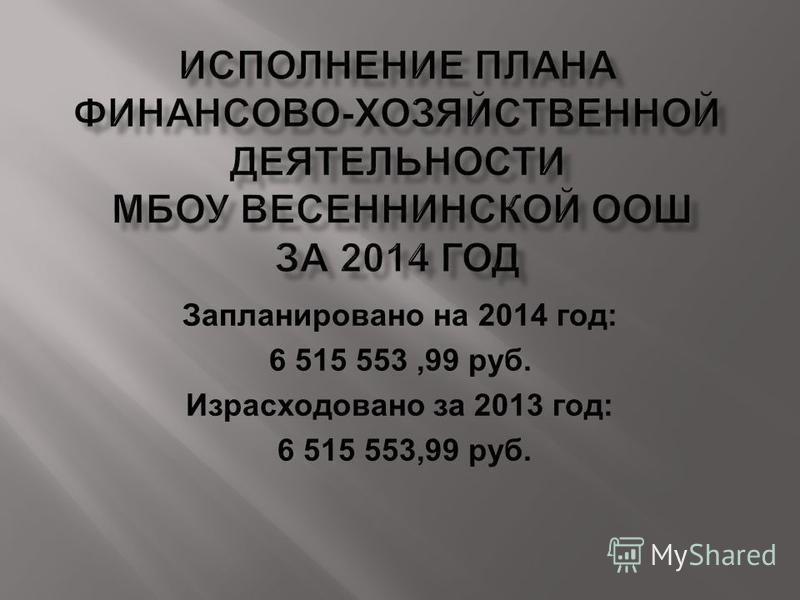 Запланировано на 2014 год: 6 515 553,99 руб. Израсходовано за 2013 год: 6 515 553,99 руб.