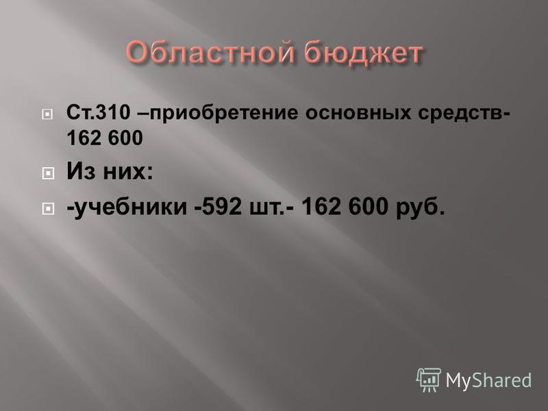 Ст.310 –приобретение основных средств- 162 600 Из них: -учебники -592 шт.- 162 600 руб.
