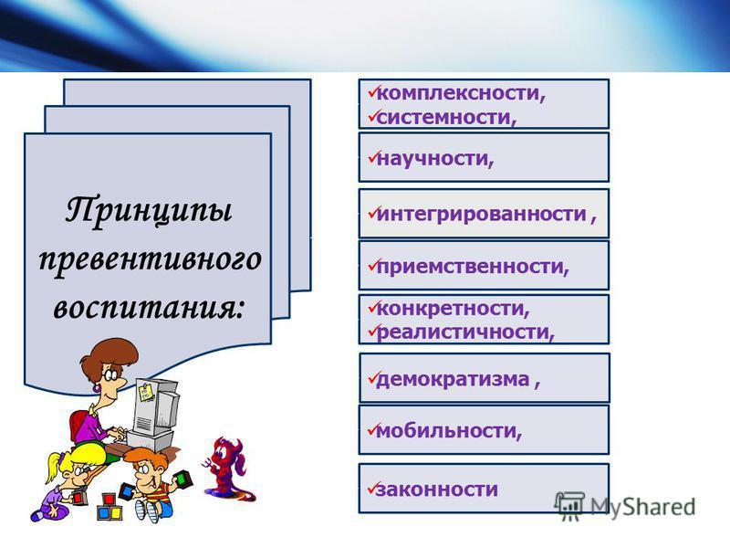 Принципы превентивного воспитания: комплексности, системности, научности, интегрированности, преемственности, конкретности, реалистичности, демократизма, мобильности, законности