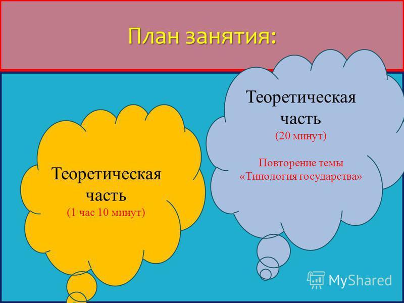 План занятия: Теоретическая часть (1 час 10 минут) Теоретическая часть (20 минут) Повторение темы «Типология государства»