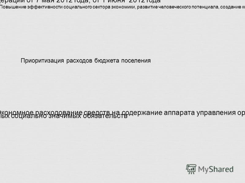 Приоритизация расходов бюджета поселения Реализация Указов Президента Российской Федерации от 7 мая 2012 года, от 1 июня 2012 года Безусловное исполнение установленных социально значимых обязательств Повышение эффективности социального сектора эконом