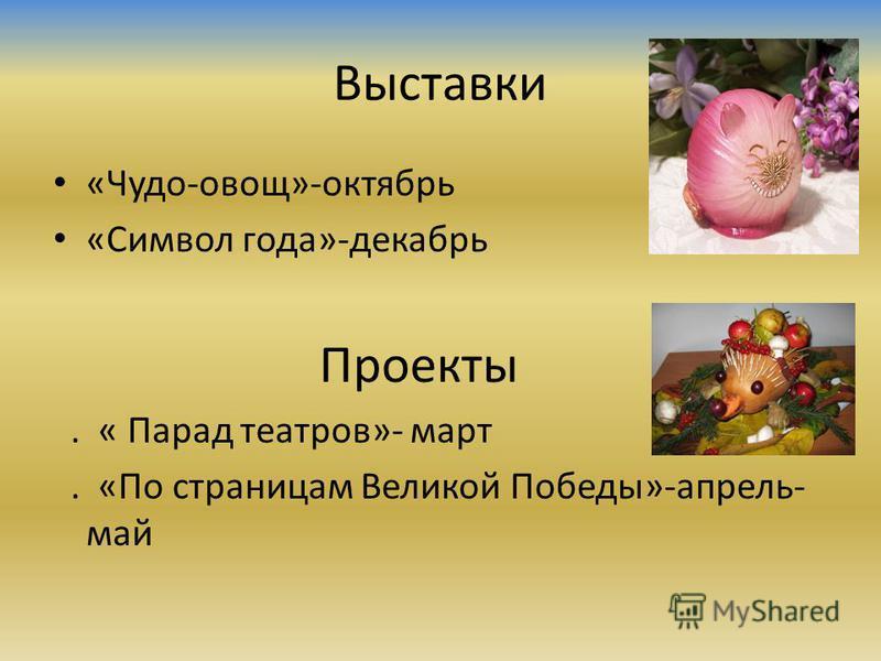 Выставки «Чудо-овощ»-октябрь «Символ года»-декабрь Проекты. « Парад театров»- март. «По страницам Великой Победы»-апрель- май