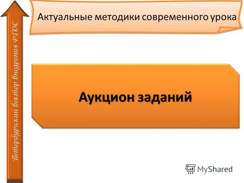 Петербургский вектор внедрения ФГОС Аукцион заданий Актуальные методики современного урока