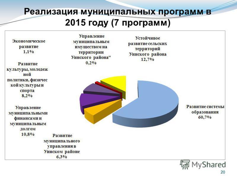 20 Реализация муниципальных программ в 2015 году (7 программ)