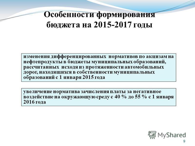 9 9 Особенности формирования бюджета на 2015-2017 годы изменения дифференцированных нормативов по акцизам на нефтепродукты в бюджеты муниципальных образований, рассчитанных исходя из протяженности автомобильных дорог, находящихся в собственности муни