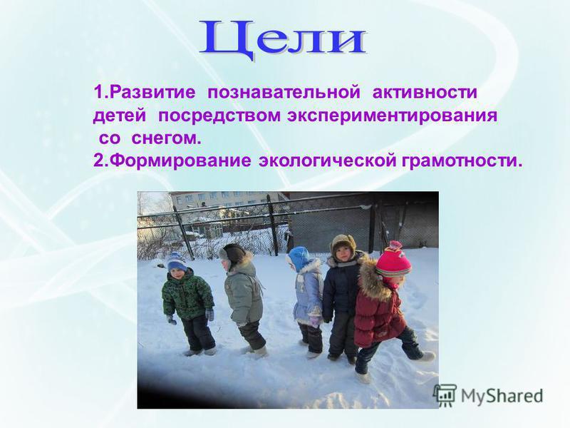 . 1. Развитие познавательной активности детей посредством экспериментирования со снегом. 2. Формирование экологической грамотности.