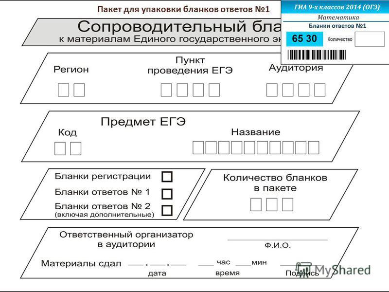 Пакет для упаковки бланков ответов 1