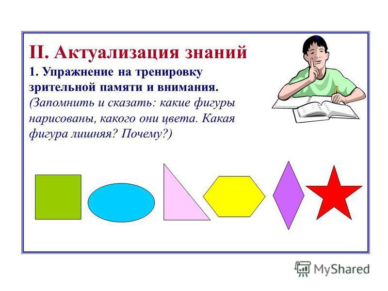 II. Актуализация знаний 1. Упражнение на тренировку зрительной памяти и внимания. (Запомнить и сказать: какие фигуры нарисованы, какого они цвета. Какая фигура лишняя? Почему?)