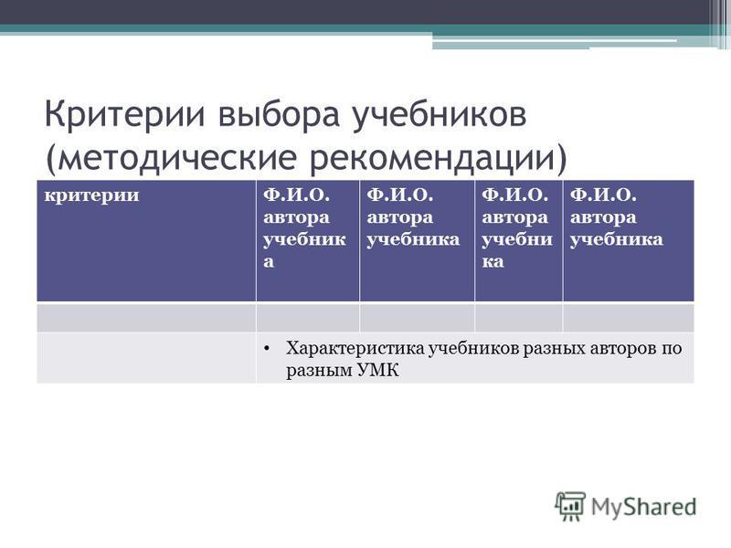 Критерии выбора учебников (методические рекомендации) критерииФ.И.О. автора учебник а Характеристика учебников разных авторов по разным УМК