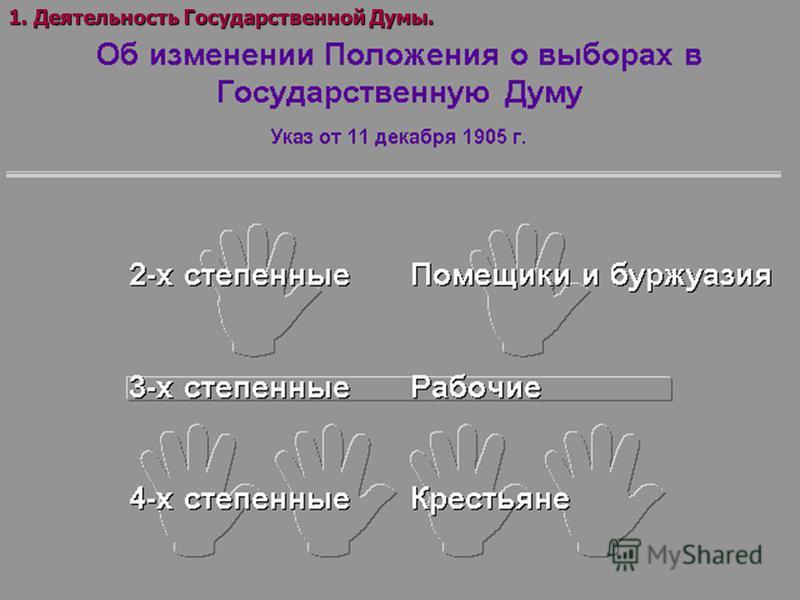 1. Деятельность Государственной Думы.