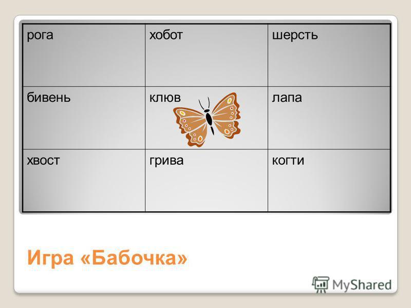 Игра «Бабочка» рогахоботшерсть бивеньклювлапа хвостгривакогти