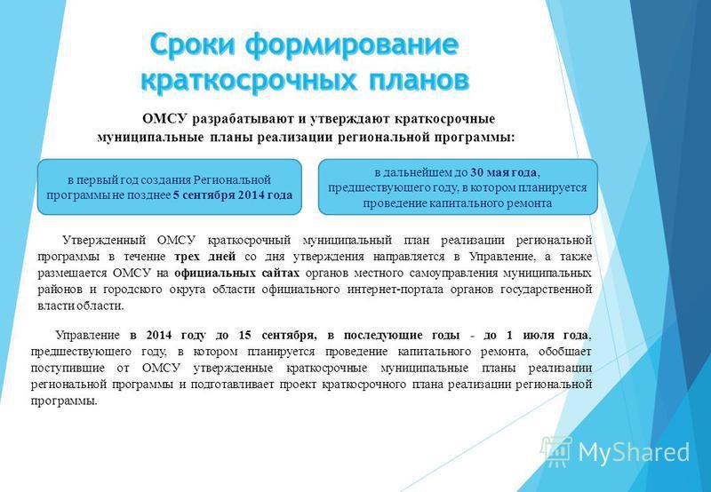 ОМСУ разрабатывают и утверждают краткосрочные муниципальные планы реализации региональной программы: в первый год создания Региональной программы не позднее 5 сентября 2014 года в дальнейшем до 30 мая года, предшествующего году, в котором планируется