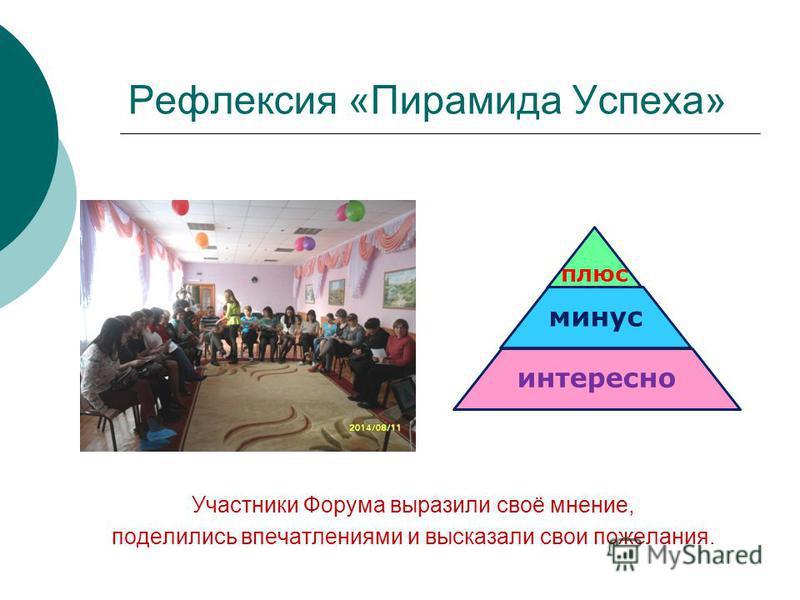 Рефлексия «Пирамида Успеха» Участники Форума выразили своё мнение, поделились впечатлениями и высказали свои пожелания. плюс минус интересно
