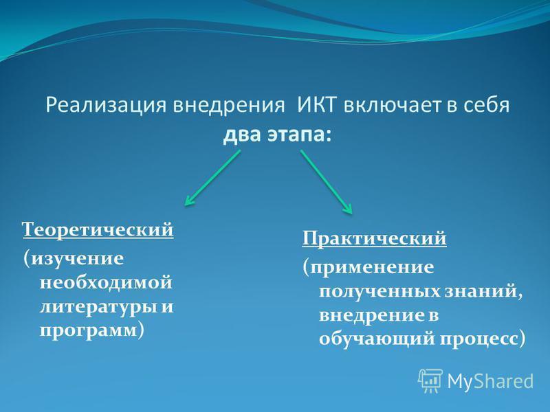 Реализация внедрения ИКТ включает в себя два этапа: Теоретический (изучение необходимой литературы и программ) Практический (применение полученных знаний, внедрение в обучающий процесс)