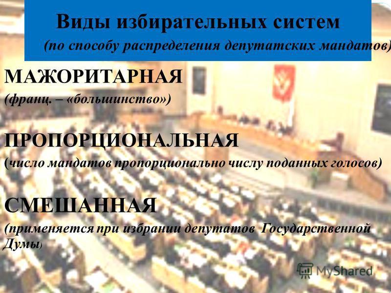 Виды избирательных систем МАЖОРИТАРНАЯ (франц. – «большинство») ПРОПОРЦИОНАЛЬНАЯ (число мандатов пропорционально числу поданных голосов) СМЕШАННАЯ (применяется при избрании депутатов Государственной Думы ) (по способу распределения депутатских мандат