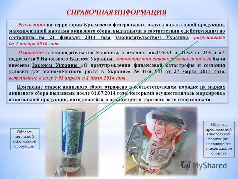4 Образец легальной алкогольной продукции Образец арестованной алкогольной продукции, находящейся в нелегальном обороте