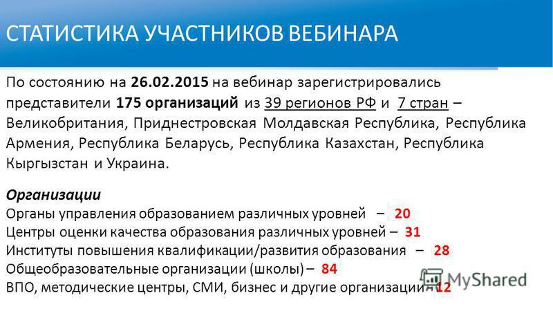 СТАТИСТИКА УЧАСТНИКОВ ВЕБИНАРА По состоянию на 26.02.2015 на вебинар зарегистрировались представители 175 организаций из 39 регионов РФ и 7 стран – Великобритания, Приднестровская Молдавская Республика, Республика Армения, Республика Беларусь, Респуб