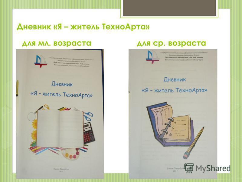 Дневник «Я – житель Техно Арта» для мл. возраста для ср. возраста
