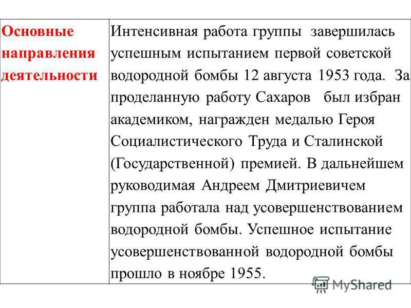 Основные направления деятельности Интенсивная работа группы завершилась успешным испытанием первой советской водородной бомбы 12 августа 1953 года. За проделанную работу Сахаров был избран академиком, награжден медалью Героя Социалистического Труда и