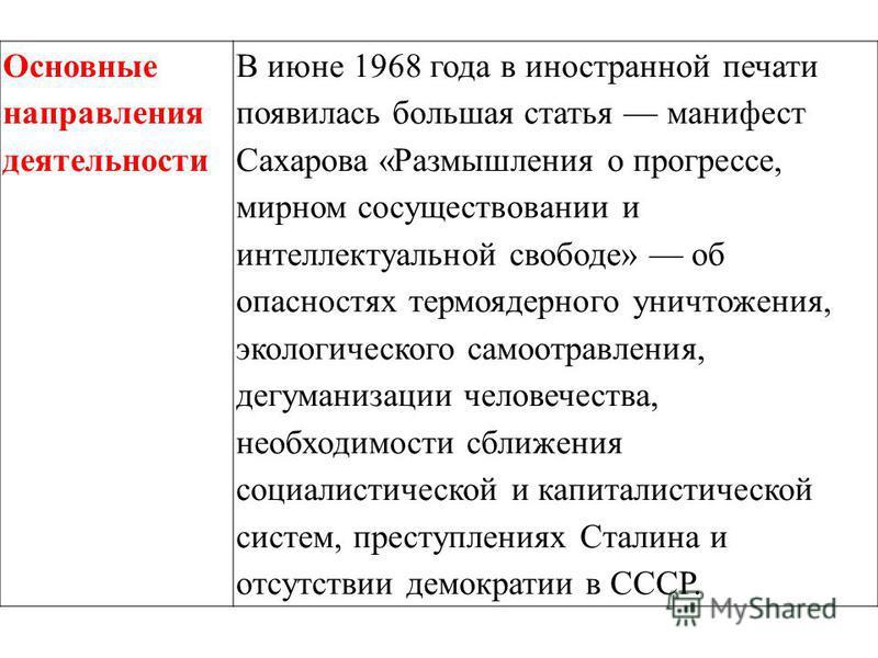 Основные направления деятельности В июне 1968 года в иностранной печати появилась большая статья манифест Сахарова «Размышления о прогрессе, мирном сосуществовании и интеллектуальной свободе» об опасностях термоядерного уничтожения, экологического са