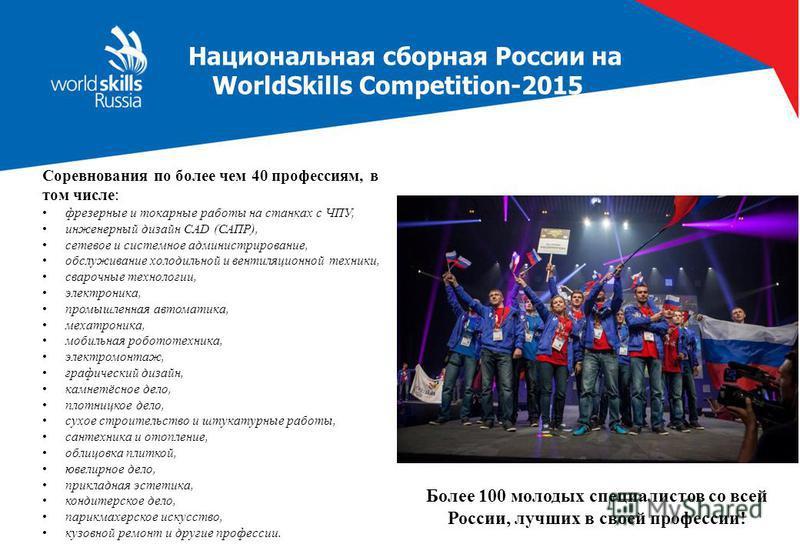 Национальная сборная России на WorldSkills Competition-2015 Соревнования по более чем 40 профессиям, в том числе: фрезерные и токарные работы на станках с ЧПУ, инженерный дизайн CAD (САПР), сетевое и системное администрирование, обслуживание холодиль