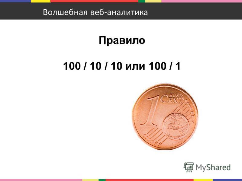 Правило 100 / 10 / 10 или 100 / 1 Волшебная веб-аналитика