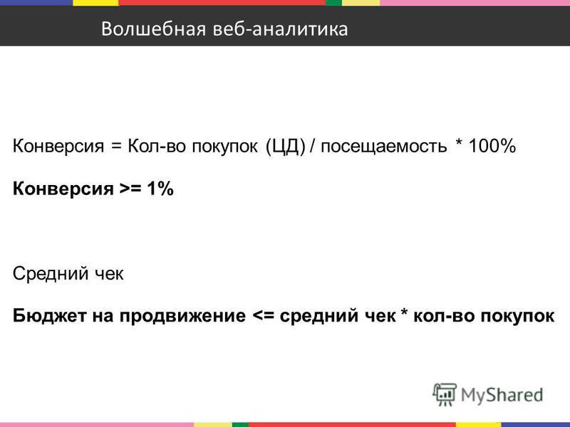 Конверсия = Кол-во покупок (ЦД) / посещаемость * 100% Конверсия >= 1% Средний чек Бюджет на продвижение