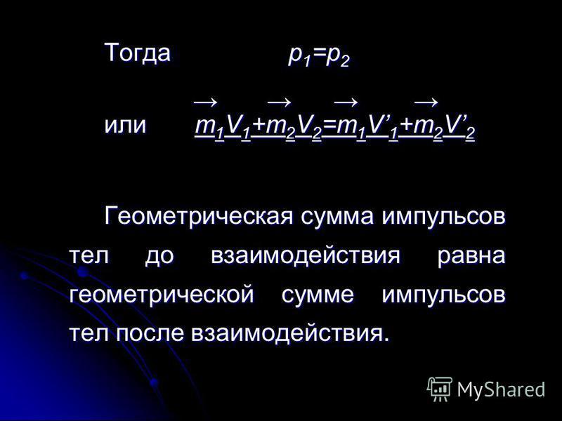 Тогда p 1 =p 2 или m 1 V 1 +m 2 V 2 =m 1 V 1 +m 2 V 2 Геометрическая сумма импульсов тел до взаимодействия равна геометрической сумме импульсов тел после взаимодействия.