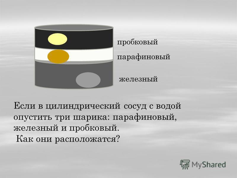Если в цилиндрический сосуд с водой опустить три шарика: парафиновый, железный и пробковый. Как они расположатся? пробковый парафиновый железный