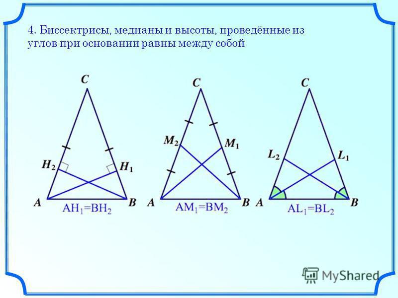 4. Биссектрисы, медианы и высоты, проведённые из углов при основании равны между собой