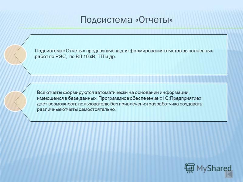 Подсистема «Отчеты» Подсистема «Отчеты» предназначена для формирования отчетов выполненных работ по РЭС, по ВЛ 10 кВ, ТП и др. Все отчеты формируются автоматически на основании информации, имеющейся в базе данных. Программное обеспечение «1С:Предприя