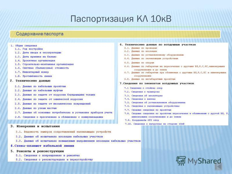 Паспортизация КЛ 10кВ Содержание паспорта