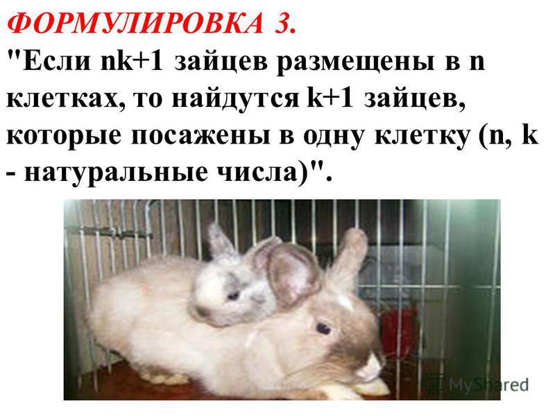 ФОРМУЛИРОВКА 3. Если nk+1 зайцев размещены в n клетках, то найдутся k+1 зайцев, которые посажены в одну клетку (n, k - натуральные числа).